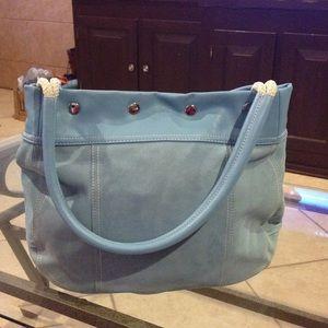 Snap Top Suede Handbag NWT